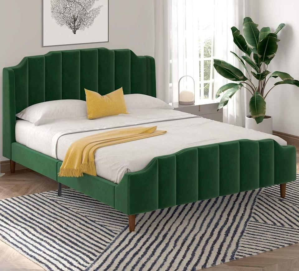 <p>This <span>Sha Cerlin Queen Size Bed Frame</span> ($290) is a step above the rest, thanks to its ribbed texture and the rich velvet green fabric. It's made of durable solid wood, and designed to be assembled easily.</p>