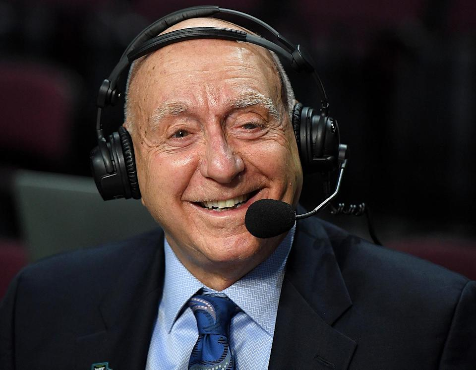 """<p>ESPN host Dick Vitale, who has a home in Florida, is a longtime fan of the Buccaneers, and has been celebrating ever since the team won the NFC Championship. """"Trust me ... the Bucs will win the Super Bowl,"""" <a href=""""https://twitter.com/DickieV/status/1354144485261922307"""" rel=""""nofollow noopener"""" target=""""_blank"""" data-ylk=""""slk:he assured in a Twitter video."""" class=""""link rapid-noclick-resp"""">he assured in a Twitter video.</a></p>"""