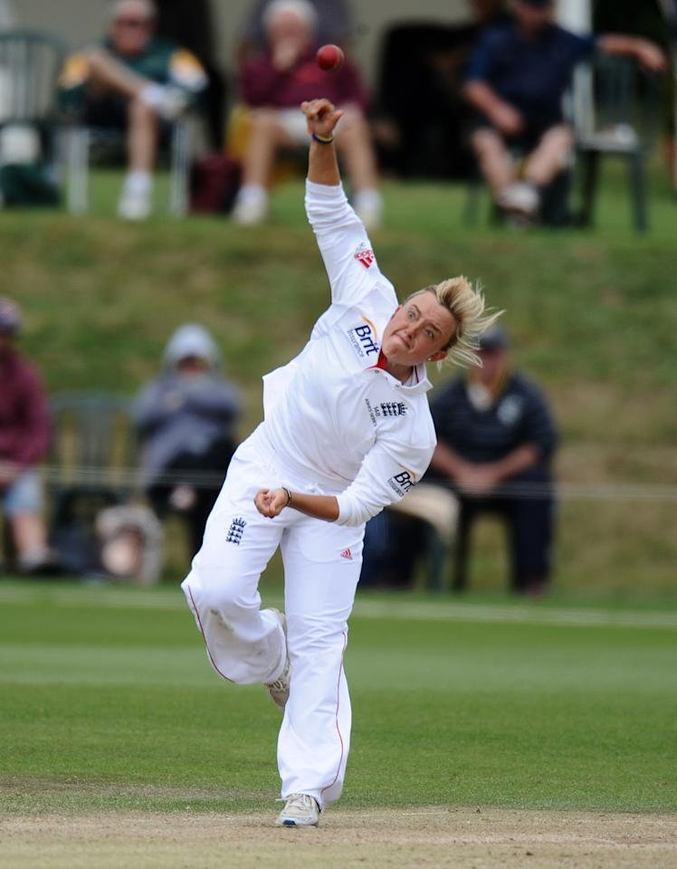 England's Danielle Hazell bowls during day four of the First Women's Ashes test match at Wormsley Cricket Ground, High Wycombe.