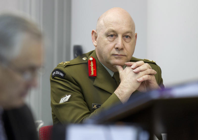 In this Monday, July 8, 2013 photo, acting defense force chief Lieutenant General Rhys Jones listening to evidence from war correspondent Jon Stephenson in the High Court in Wellington, New Zealand,. Jones said Monday July 29, 2013, that there is no evidence the military unlawfully spied on Stephenson in Afghanistan who was freelancing for U.S. news organization McClatchy. (AP photo/Mark Mitchell/New Zealand Herald) AUSTRALIA OUT, NEW ZEALAND OUT