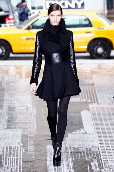 """<div class=""""caption-credit""""> Photo by: Peter Michael Dills/Getty Images</div><b>DKNY</b> <br> We love the contrasting of colors and fabrics here. It's so much more exciting than head-to-toe black. <br> <br>"""