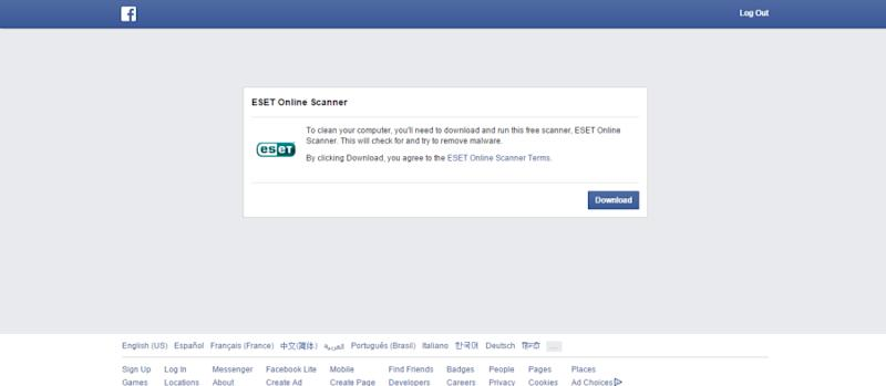 Facebook prompted me to download the ESET Online Scanner.