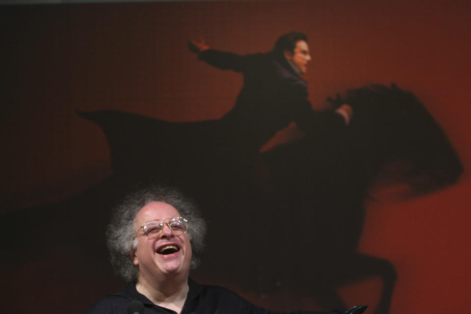 FILE - Metropolitan Opera Music Director James Levine laughs during a news conference to announce the Met's 2008-09 Performance Season, on March 4, 2008 in New York. Levine, who ruled over the Metropolitan Opera for 4 1/2 decades before being eased out when his health declined and then fired for sexual improprieties, died March 9, 2021 in Palm Springs, Calif., of natural causes, his physician of 17 years, Dr. Len Horovitz, said Wednesday, March 17. He was 77. (AP Photo/Mary Altaffer, File)
