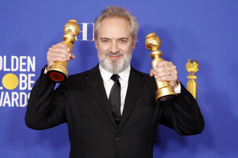 LOS ANGELES, CALIFORNIA, UNITED STATES - JANUARY 5, 2020 - Sam Mendes - '1917' - photographed in the press room of the 77th Annual Golden Globe Awards at The Beverly Hilton Hotel on January 05, 2020 in Beverly Hills, California.- PHOTOGRAPH BY P. Lehman / Barcroft Media (Photo credit should read P. Lehman / Barcroft Media via Getty Images)