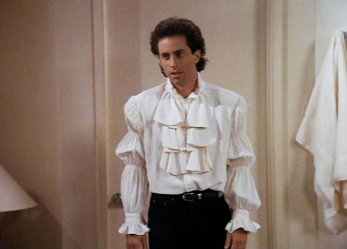 """""""The Puffy Shirt"""" - Jerry is coerced into wearing a ridiculous """"puffy"""" shirt designed by Kramer's girlfriend when he appears on the NBC News' """"Today"""" with Bryant Gumbel."""