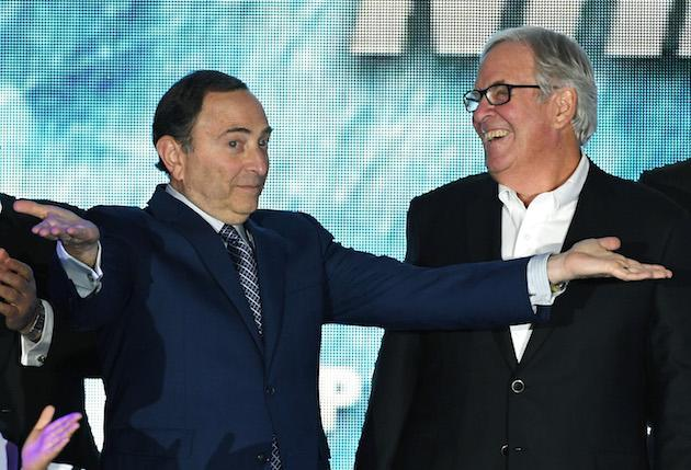 LAS VEGAS, NV – NOVEMBER 22: NHL Commissioner Gary Bettman (L) encourages people to boo him as majority owner Bill Foley looks on before the Vegas Golden Knights was announced as the name for Foley's Las Vegas NHL franchise at T-Mobile Arena on November 22, 2016 in Las Vegas, Nevada. The team will begin play in the 2017-18 season. (Photo by Ethan Miller/Getty Images)