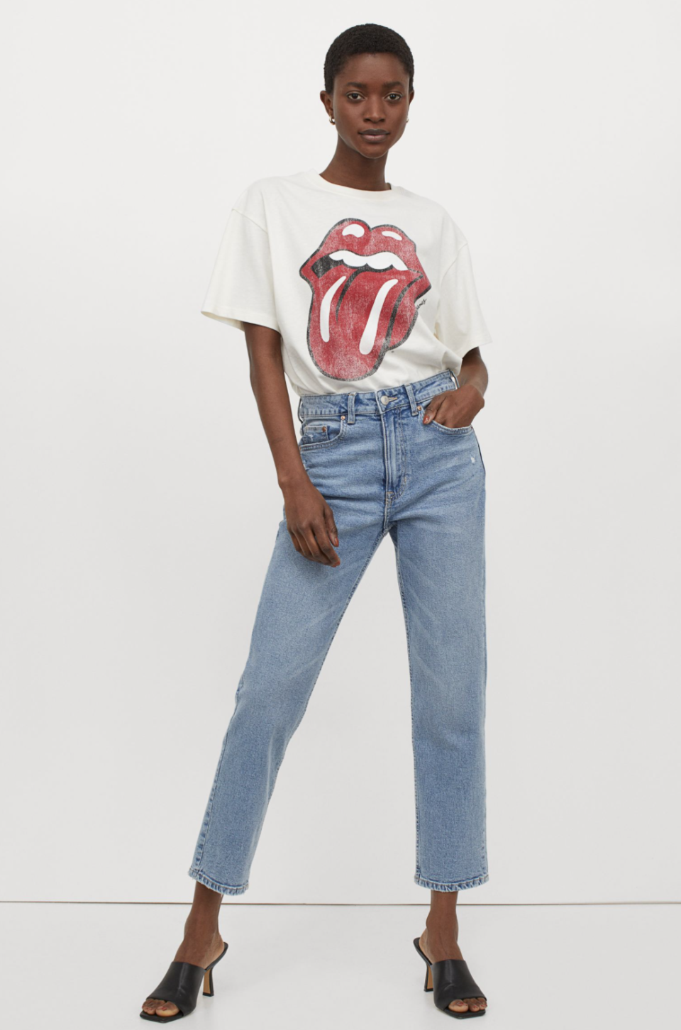 Oversized Printed T-Shirt in Cream/The Rolling Stones (Photo via H&M)