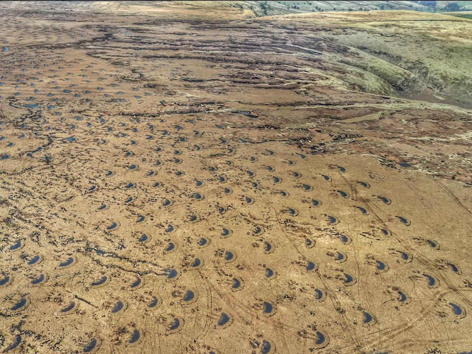 Aerial view of Halcombe Moor, near Manchester, where thousands of 'peat bunds' are visible (NW Groundworks/National Trust)