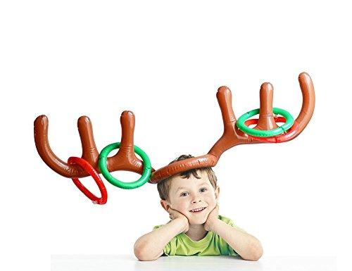 Hapdoop 2-4 Players Inflatable Reindeer Antler Ring Toss Game for Christmas Party - Game Rules Included (2 Antlers 10 Rings) (Amazon / Amazon)