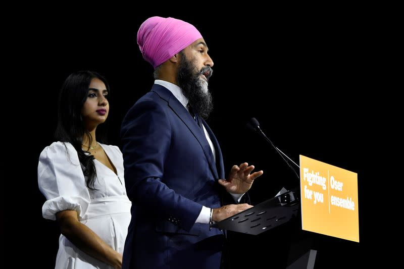 New Democratic Party (NDP) leader Jagmeet Singh on election night in Vancouver