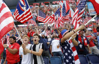 United States soccer fans react before a CONCACAF Gold Cup soccer match against Canada in Kansas City, Kan., Sunday, July 18, 2021. (AP Photo/Colin E. Braley)