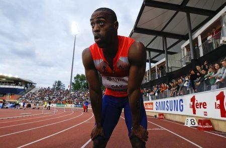 Gay of the U.S. reacts after winning in the 100m event of the Lausanne Diamond League meeting in Lausanne