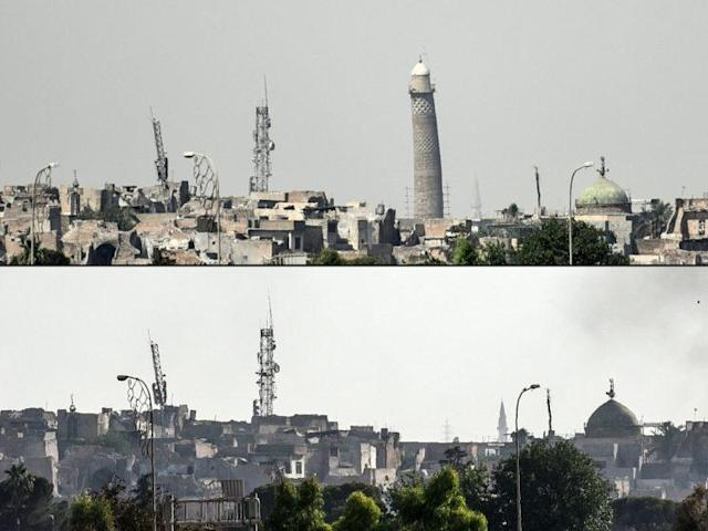 Views of the Mosul, Iraq, skyline before and after the minaret of the al-Nuri mosque was destroyed by ISIS forces, June 22, 2017. (Photo: Mohamed El-Shaded/AFP/Getty Images)