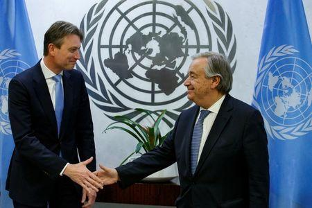 FILE PHOTO: Dutch Foreign Minister Halbe Zijlstra meets with United Nations Secretary-General Antonio Guterres at U.N. headquarters in New York