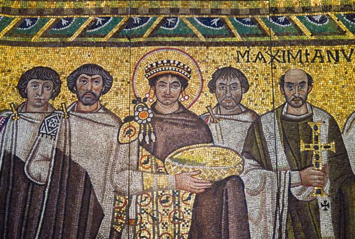 "<span class=""caption"">Inspiration for a mob of angry white men?</span> <span class=""attribution""><a class=""link rapid-noclick-resp"" href=""https://www.gettyimages.com/detail/photo/detail-of-byzantine-mosaic-of-emperor-justinian-and-royalty-free-image/583742730?adppopup=true"" rel=""nofollow noopener"" target=""_blank"" data-ylk=""slk:Getty Images"">Getty Images</a></span>"