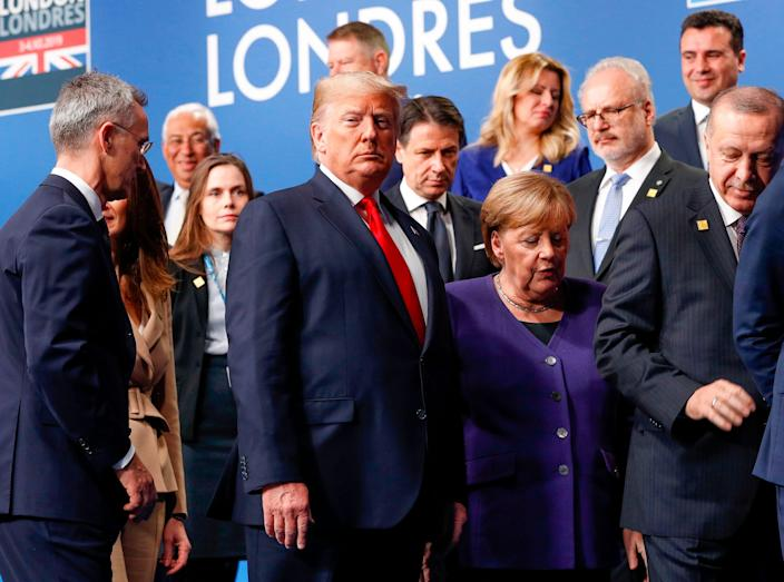 President Donald Trump and other NATO leaders in London on Dec. 4, 2019.