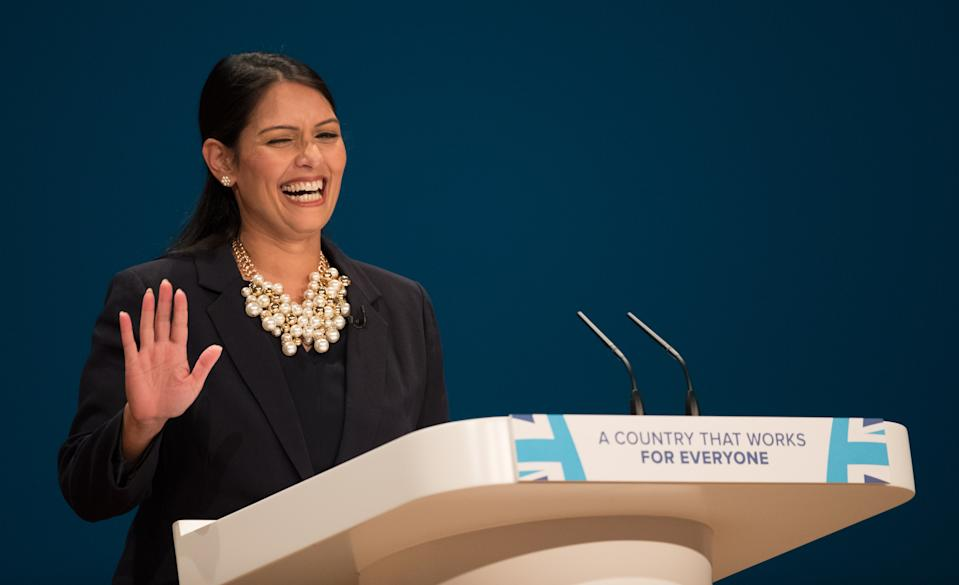 BIRMINGHAM, ENGLAND - OCTOBER 02: Priti Patel, Secretary of State for International Development delivers a speech about Brexit on the first day of the Conservative Party Conference 2016 at the ICC Birmingham on October 2, 2016 in Birmingham, England. On the opening day of the annual party conference, British Prime Minister Theresa May has confirmed that the deadline for triggering Article 50 of the Lisbon Treaty to will be the end of March 2017. (Photo by Matt Cardy/Getty Images)