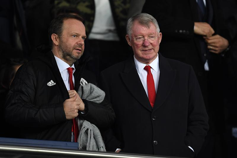 PARIS, FRANCE - MARCH 07: Ed Woodward of Manchester United and Sir Alex Ferguson look on prior to the UEFA Champions League Round of 16 Second Leg match between Paris Saint-Germain and Manchester United at Parc des Princes on March 07, 2019 in Paris, France. (Photo by Etsuo Hara/Getty Images)