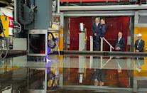 <p>Prince William arrives at the steel cutting ceremony for HMS Belfast at the BAE Systems shipyard ahead of his speech. </p>