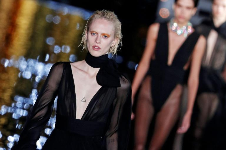 Models walked on water for the Saint Laurent Paris fashion week show