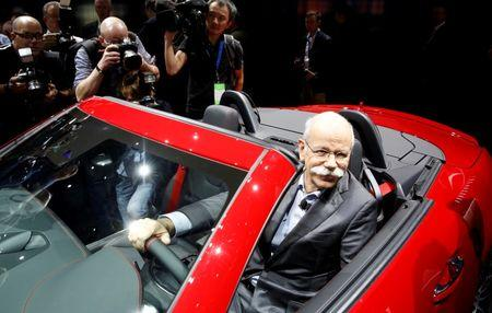 Dieter Zetsche, Chairman of the Board for Daimler AG and Head of Mercedes-Benz, sits in the 2016 Mercedes-AMG SLC 43 at the North American International Auto Show in Detroit, Michigan, January 11, 2016.  REUTERS/Gary Cameron/File Photo