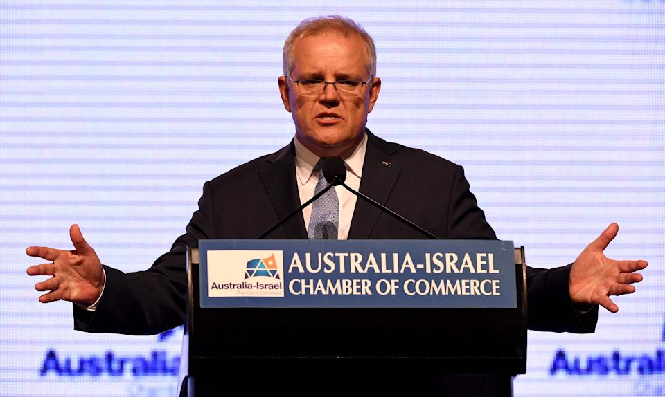 <p>Australia's Prime Minister Scott Morrison speaks during an address at the Australia-Israel Chamber of Commerce luncheon in Melbourne on 6 May, 2021</p> (AFP via Getty Images)