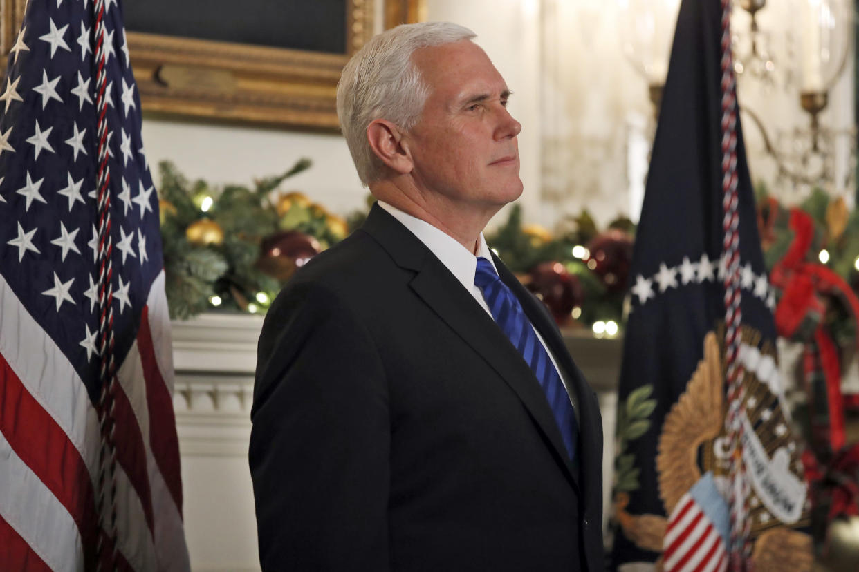 Vice President Pence at the White House on Dec. 6. (Photo: Alex Brandon/AP)