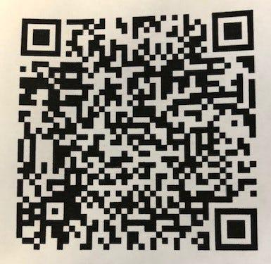 This QR code leads to John Thoms Facebook open heart surgery fundraiser page.