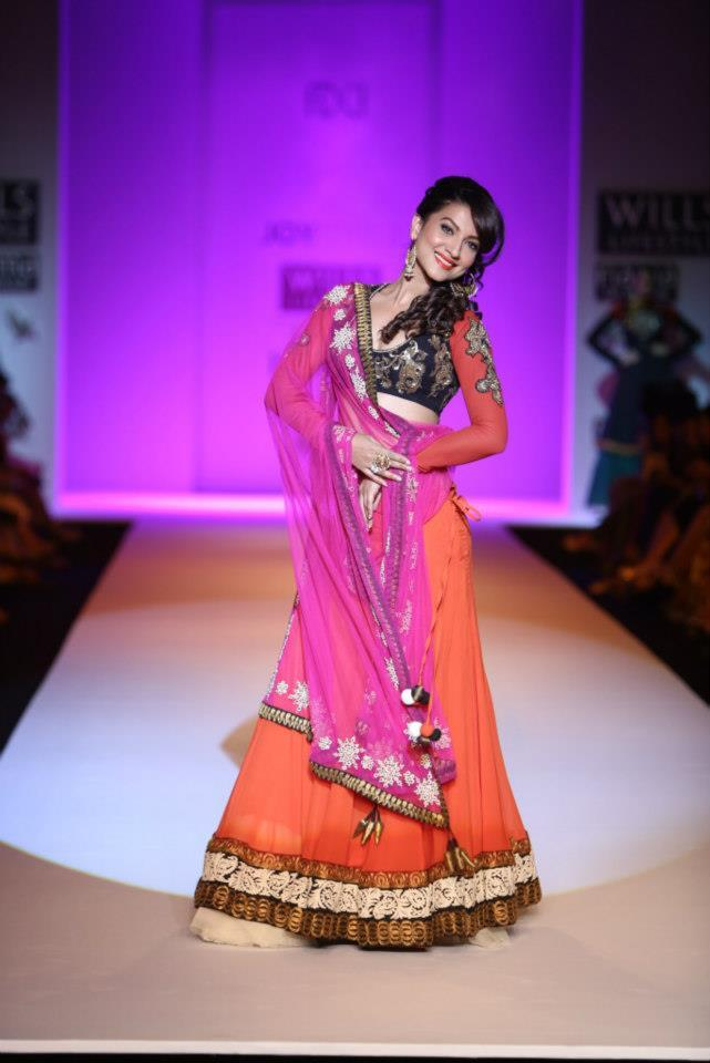 Model turned actress Gauhar Khan was seen sizzling on the ramp for designer Joy Mitra.