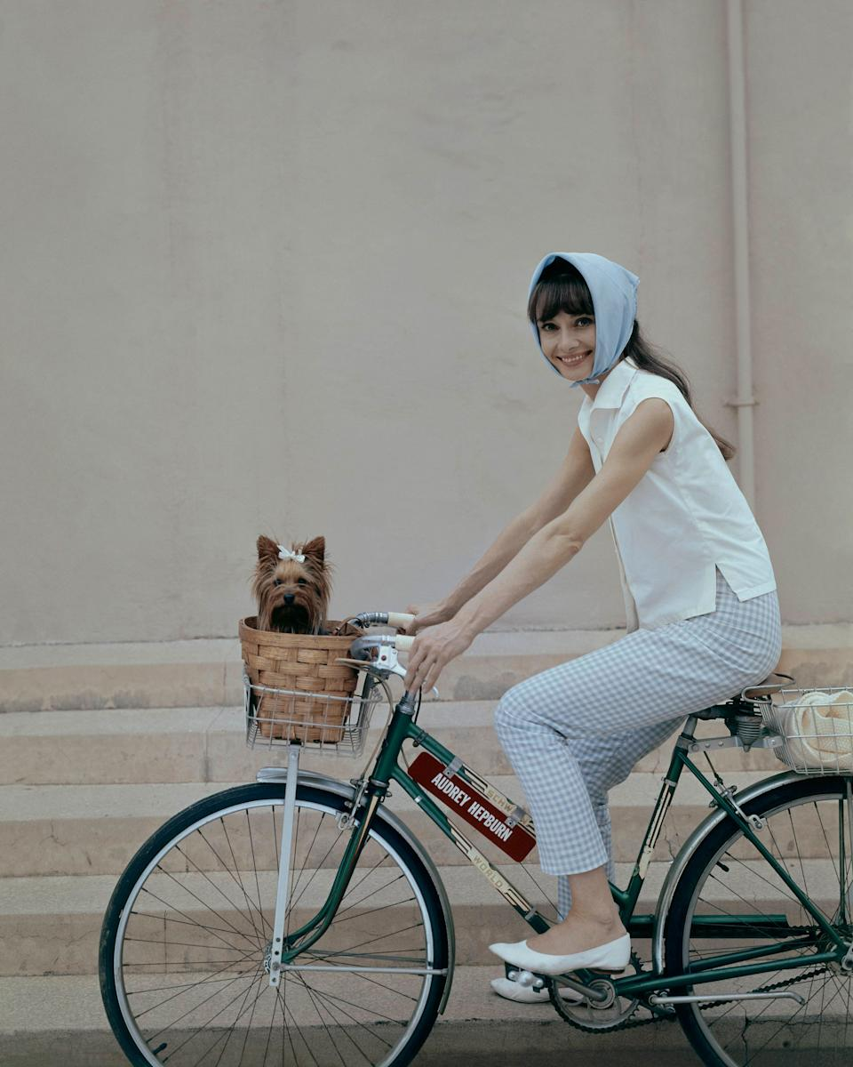 Hepburn rides a bike with dog in basket in this undated photo.