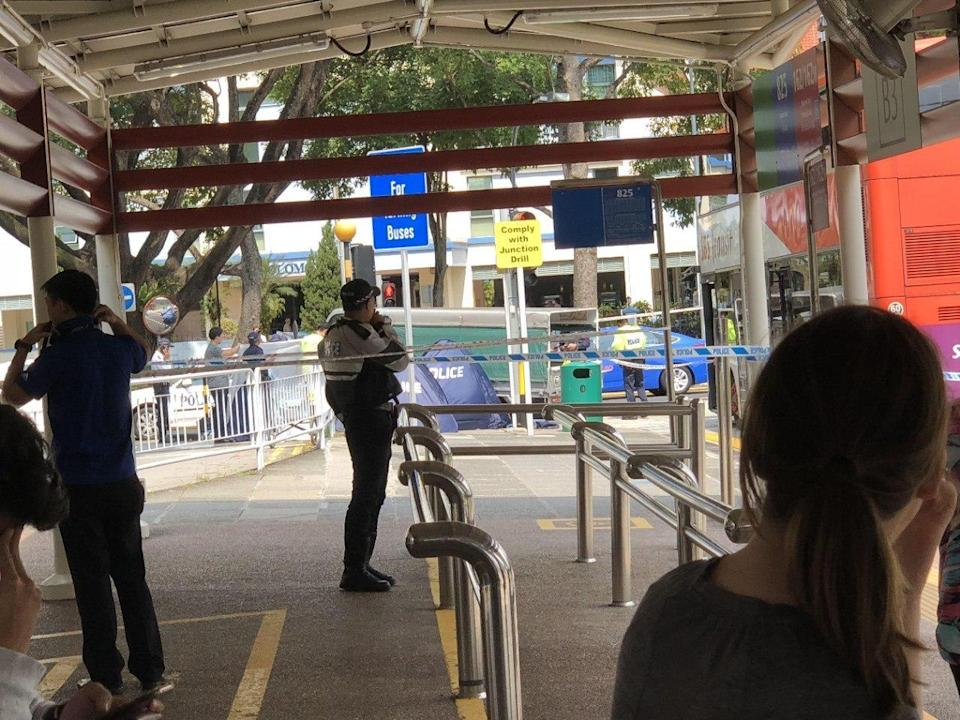 The accident, which took place near the Yio Chu Kang bus interchange, involved a bus and lorry. (PHOTO: Telegram / SG No 1 All in One Sharing)