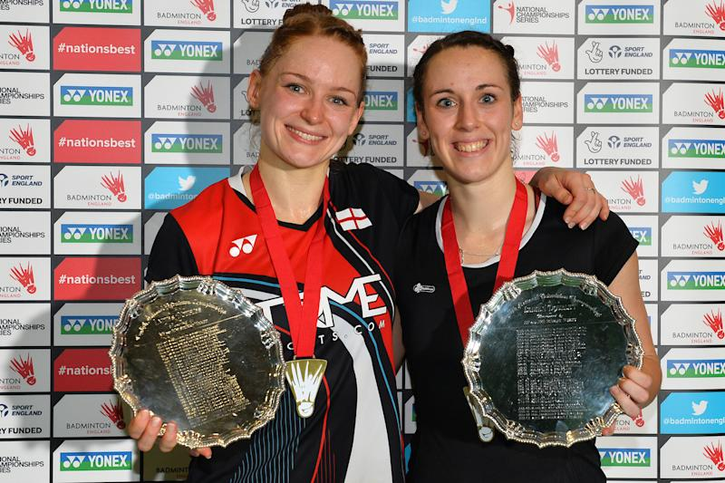 Chloe Birch and Lauren Smith celebrate their women's doubles success at the England National Badminton Championships in Winchester (Credit: Alan Spink and Craig Burgess Photography)