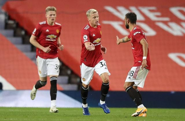 Donny Van De Beek (centre) is United's only signing of the transfer window so far (Martin Rickett/PA).