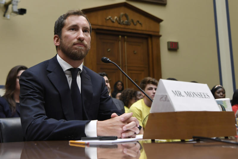 JUUL Labs co-founder and Chief Product Officer James Monsees testifies before a House Oversight and Government Reform subcommittee on Capitol Hill in Washington, Thursday, July 25, 2019, during a hearing on the youth nicotine epidemic. (AP Photo/Susan Walsh)