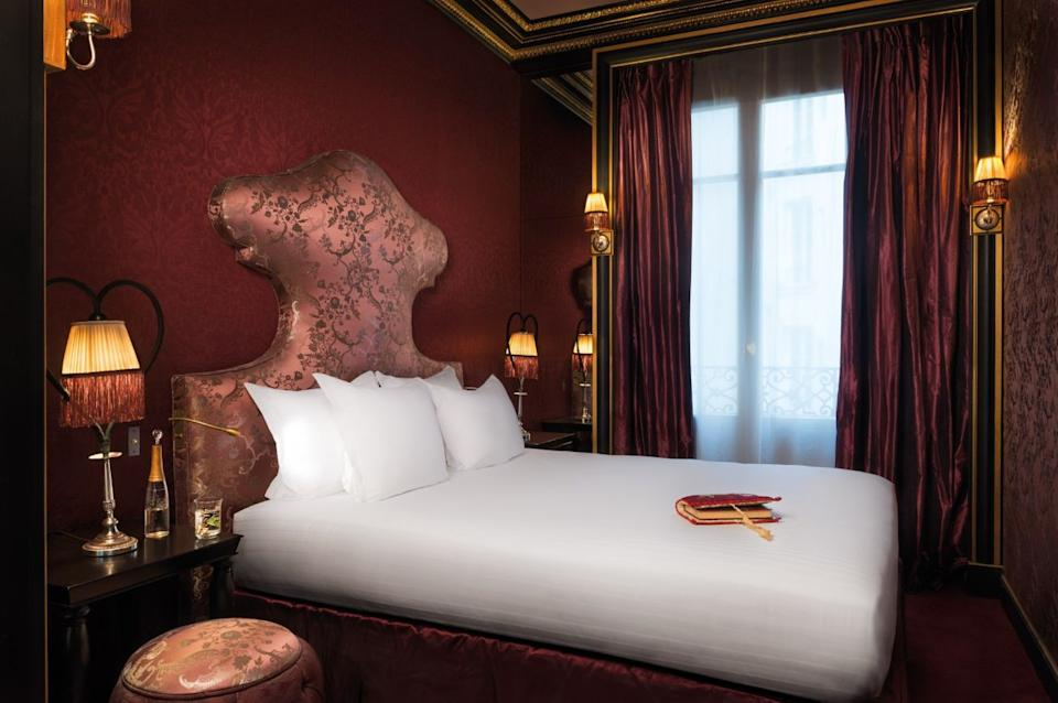 """This <strong><a href=""""https://www.tripadvisor.com/Hotel_Review-g187147-d7182695-Reviews-Maison_Souquet-Paris_Ile_de_France.html"""" target=""""_blank"""" rel=""""noopener noreferrer"""">luxury hotel features exquisite Parisian</a></strong> decor with Arabian style ― from plush velvet seating, climbing greenery, brocade carpets and lavish paintings reminiscent of Napoleon III era ― and includes butler service, a secret spa and an enchanting bar."""