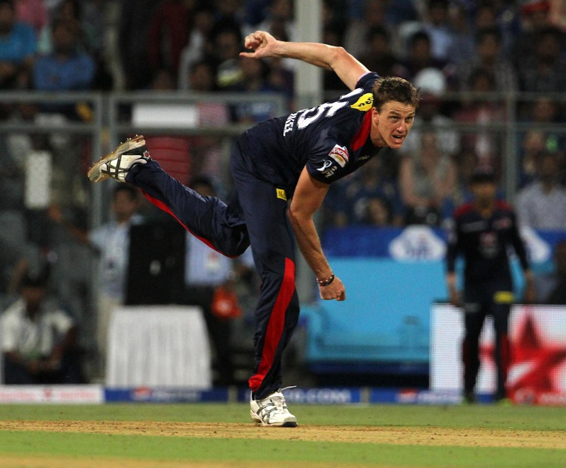 Delhi Daredevils player Morne Morkel bowls during match 10 of the Pepsi Indian Premier League ( IPL) 2013  between The Mumbai Indians and the Delhi Daredevils held at the Wankhede Stadium in Mumbai on the 9th April 2013 ..Photo by Vipin Pawar-IPL-SPORTZPICS ..Use of this image is subject to the terms and conditions as outlined by the BCCI. These terms can be found by following this link:..https://ec.yimg.com/ec?url=http%3a%2f%2fwww.sportzpics.co.za%2fimage%2fI0000SoRagM2cIEc&t=1506404697&sig=yzS5r9dKlgcX6obpARPsPA--~D