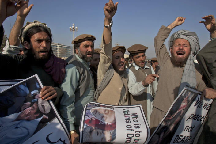 Pakistani tribal villagers affected by U.S. drone attacks chant slogans during a rally near parliament house in Islamabad, Pakistan on Saturday, Feb, 25, 2012. Dozens of tribal villagers form Waziristan region rallied in the capital Islamabad against drone attacks in Pakistani tribal areas. (AP Photo/Anjum Naveed)