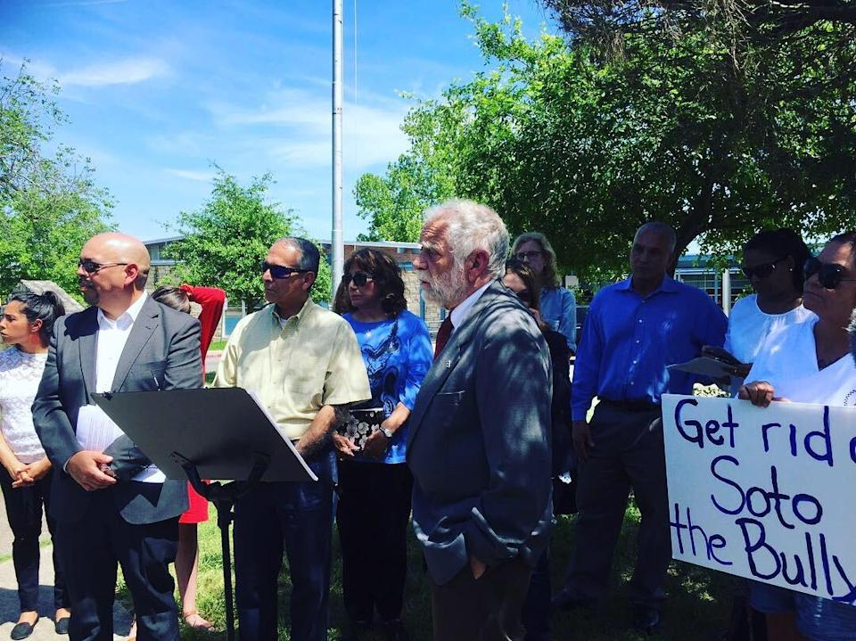 Austin community leaders led a protest in favor of firing Gabbie Soto, the principal of Andrews Elementary School, for allegedly bullying undocumented families. (Photo: Courtesy of East Austin Schools Manifesto Coalition)