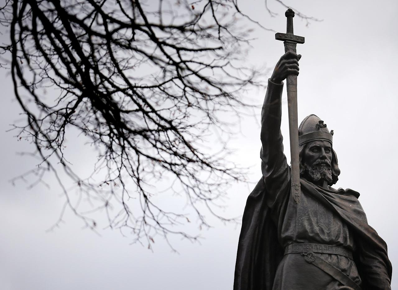 WINCHESTER, ENGLAND - FEBRUARY 06:  A general view of a statue of Alfred The Great on February 6, 2013 in Winchester, England. King Alfred lived from 849 AD to 899 AD and is the only English monarch to be afforded the title The Great. Following the recent discovery of Richard III's remains, archaeologists trying to locate Alfred the Great have applied to exhume bones from an unmarked grave at St Bartholomew Church.   (Photo by Matt Cardy/Getty Images)