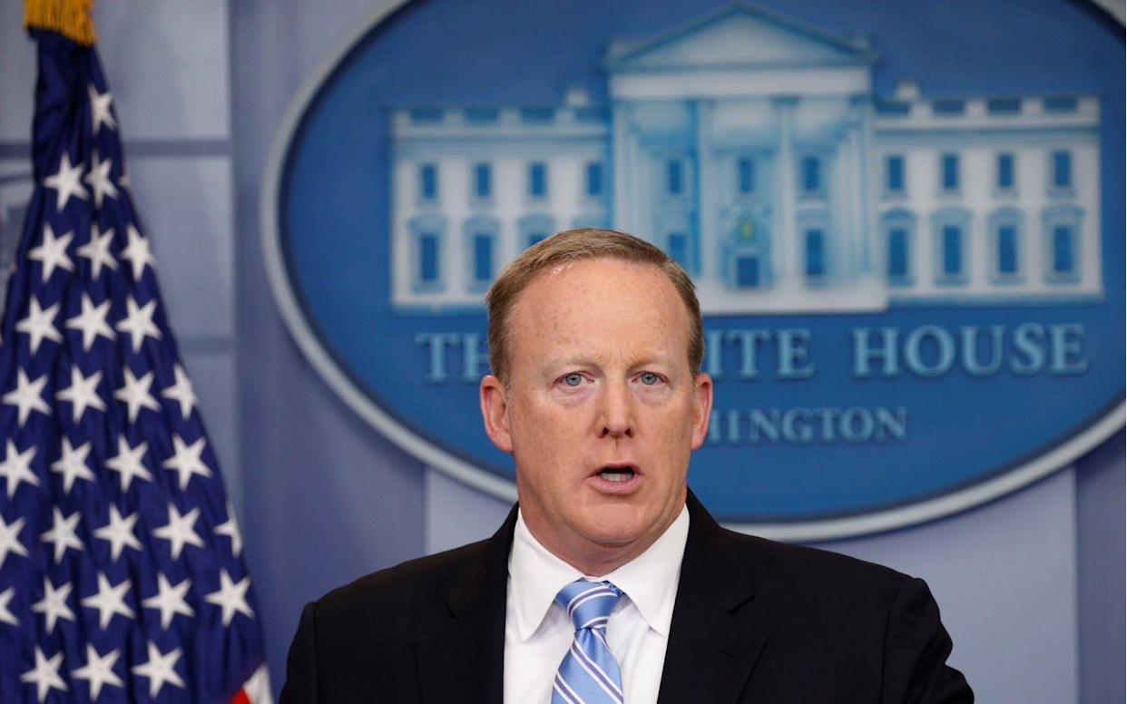 <span>Former White House Communications Director Sean Spicer says the meeting was a favour</span> <span>Credit: REUTERS/Kevin Lamarque </span>