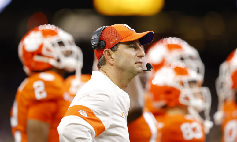Clemson head coach Dabo Swinney not happy with the refs at the national title game in New Orleans.