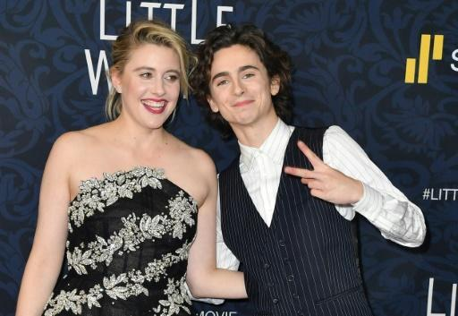 "US director Greta Gerwig, with actor Timoth�e Chalamet, at a screening of ""Little Women"" in New York"
