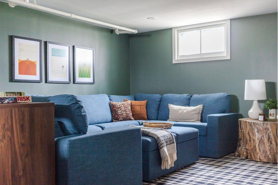 """<p>This cozy basement game room is perfect for hosting friends and family. """"Decorate"""" with vintage games that are as fun to look at as they are to play!</p><p><strong>See more at <a href=""""https://hollandavenuehome.com/2019/11/07/basement-family-game-room-reveal-one-room-challenge-week-six/"""" rel=""""nofollow noopener"""" target=""""_blank"""" data-ylk=""""slk:Holland Avenue Home"""" class=""""link rapid-noclick-resp"""">Holland Avenue Home</a>. </strong></p><p><a class=""""link rapid-noclick-resp"""" href=""""https://go.redirectingat.com?id=74968X1596630&url=https%3A%2F%2Fwww.walmart.com%2Fip%2FWinning-Solutions-Chutes-Ladders-Vintage-Bookshelf-Edition-Board-Game%2F880212643&sref=https%3A%2F%2Fwww.thepioneerwoman.com%2Fhome-lifestyle%2Fdecorating-ideas%2Fg34763691%2Fbasement-ideas%2F"""" rel=""""nofollow noopener"""" target=""""_blank"""" data-ylk=""""slk:SHOP VINTAGE BOARD GAMES"""">SHOP VINTAGE BOARD GAMES</a></p>"""