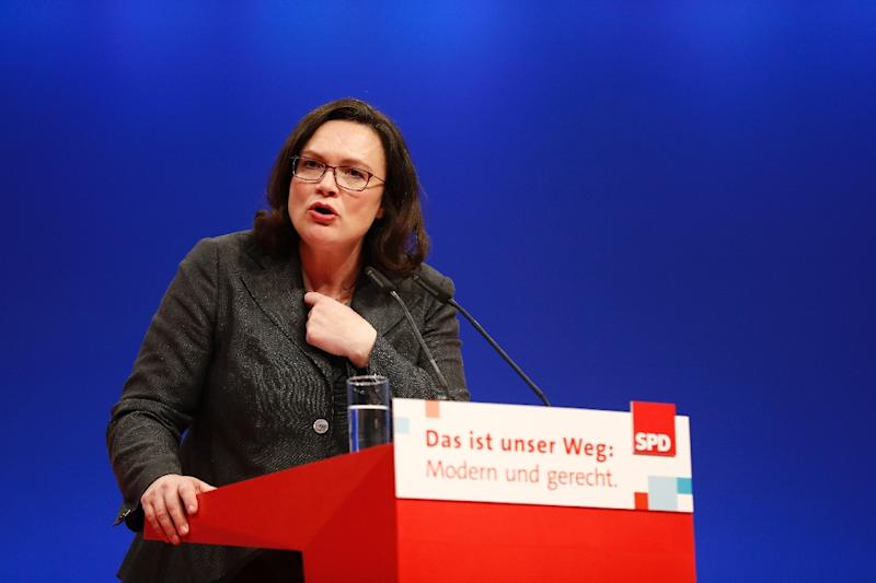 Andrea Nahles said she did not have the support needed to continue as SPD leader (AFP Photo/Odd ANDERSEN)