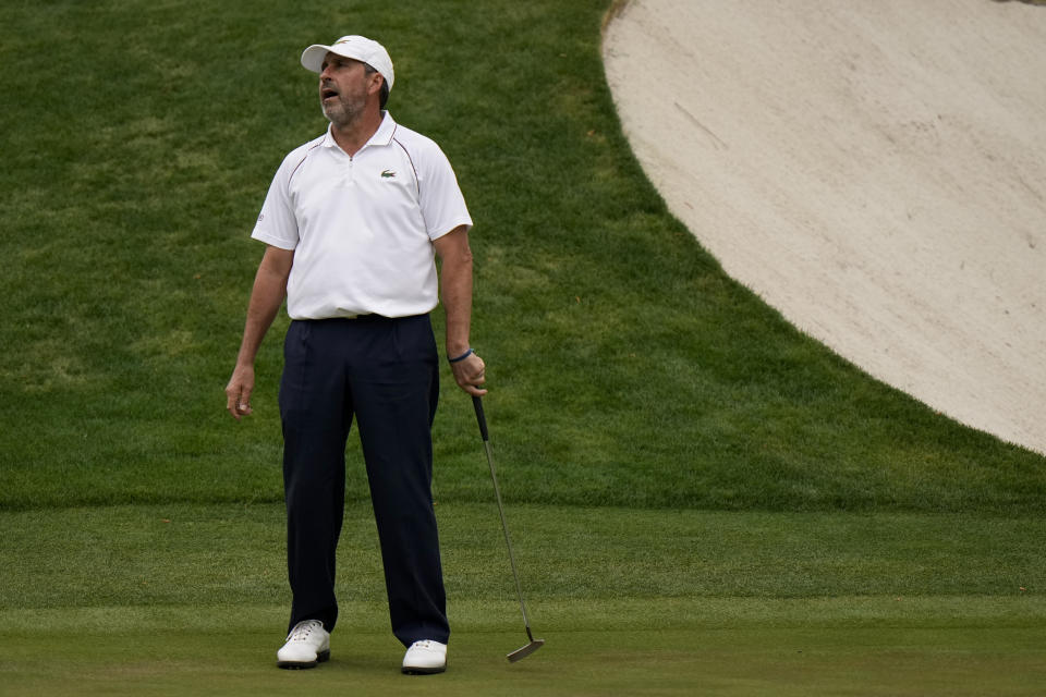 Jose Maria Olazabal, of Spain, reacts after missing a birdie putt on the 16th hole during the second round of the Masters golf tournament on Friday, April 9, 2021, in Augusta, Ga. (AP Photo/Matt Slocum)