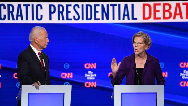 PHOTO: Democratic presidential hopefuls Sen. Elizabeth Warren and former Vice President Joe Biden speak during the fourth Democratic primary debate at Otterbein University in Westerville, Ohio, Oct. 15, 2019. (Saul Loeb/AFP/Getty Images)