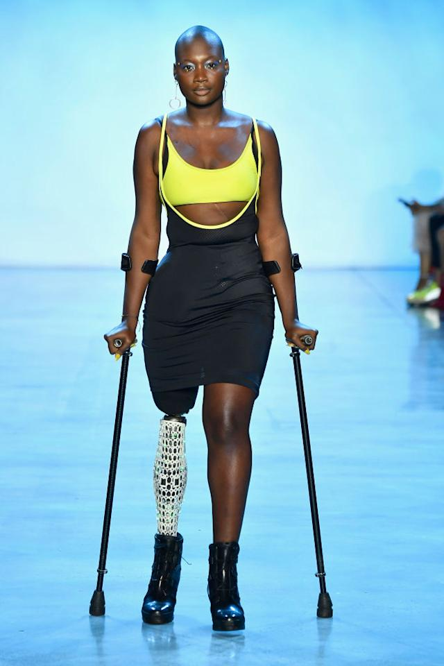 <p>Mama Cax is an amputee, activist, and model who has already graced the cover of <em>Teen Vogue</em> in the past. She is seen here walking the runway for Chromat during New York Fashion Week. (Photo: Getty Images) </p>