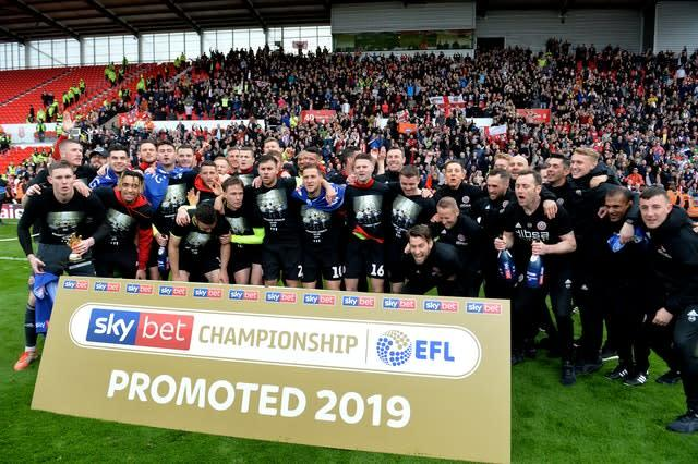 Sheffield United celebrated promotion after their draw at Stoke on the final day last season (Dave Howarth/PA)