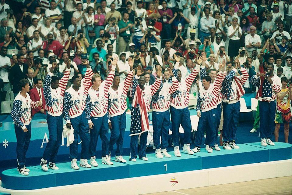 """<p>The United States brought together a men's Basketball team in 1992 that was dubbed """"The Dream Team."""" Consisting of Michael Jordan, Charles Barkley, Magic Johnson, Scottie Pippen, Larry Bird, Karl Malone, and Patrick Ewing, it's no surprise they brought home the hardware. </p>"""