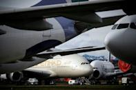 With demand high, space is at premium, so aircraft are wedged in tightly